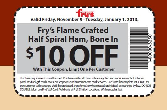 picture regarding Frys Printable Coupons titled Frys Twitter Coupon - $10 Off Flame Designed Spiral 50 percent Ham